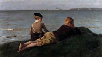 Ernest-Ange DUEZ (1843 - 1896) Enfants observant la mer Huile sur toile Signée en...
