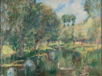 ALBERT LEBOURG (1849-1928) Paysage de Chalou-Moulineux, vers 1910-1911 Huile sur...