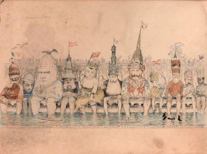 Jean VEBER (1868-1928) Le bain de pieds international Crayon, encre et rehauts d'aquarelle...