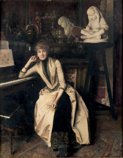 Émile FRIANT (1863-1932) Portrait de Madame Gustave Paul Huile sur panneau Signée...
