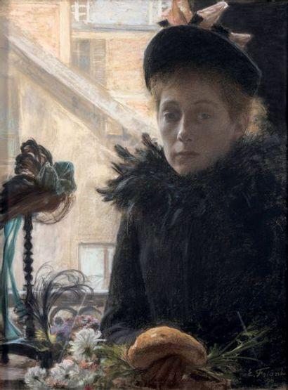 Émile FRIANT (1863-1932) La modiste Pastel Signé en bas à droite E. Friant et daté...