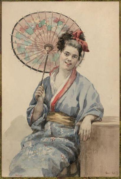 Victor PAILLET (actif à la fin du XIXe - début du XXe) Portrait de Madame Couffignal,...