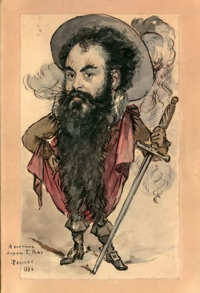 Victor PAILLET (actif à la fin du XIXe - début du XXe) Portrait charge de Taxile...