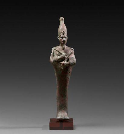 Statuette d'Osiris momiforme, coiffé de la...