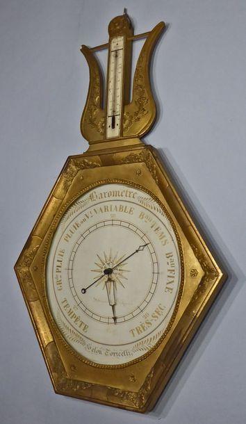 Baromètre thermomètre hexagonal en bois stuqué...
