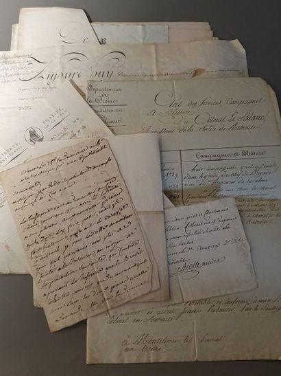 Général Hilaire LEBLANC (né en 1739) Ensemble de onze documents relatifs au général...