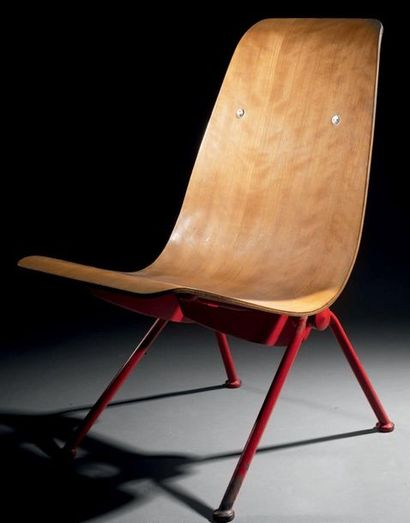 Jean PROUVÉ (1910-1984) Fauteuil léger n°356 du référencier de l'artiste dit «Antony»,...