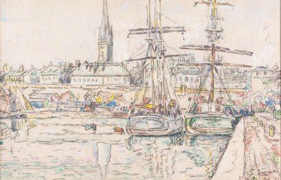 Paul SIGNAC (1863-1935) Saint-Malo, terreneuvas à quai, octobre 1927 Mine de plomb...
