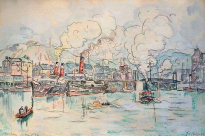 Paul SIGNAC (1863 - 1935) Cherbourg, 16 août 1932 Aquarelle sur traits de crayon,...