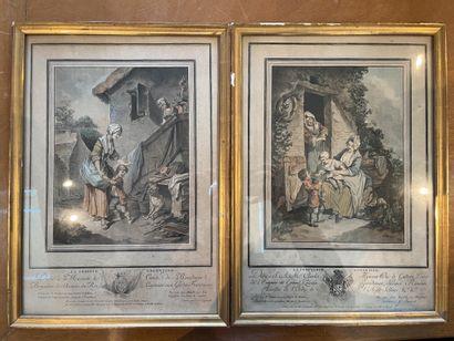 Ensemble de deux gravures Noce de village...