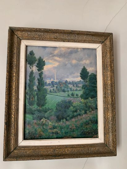 Une aquarelle et une huile sur toile Paysages...