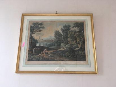 Paysage français du XVIIIème siècle Gravure...