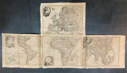 CLOUET, Abbé / MONDHARE. Carte d'Afrique (1764) - Carte d'Amérique (1774) - Carte d'Asie (1764) - Carte d'Europe (1774). 1764-1774.