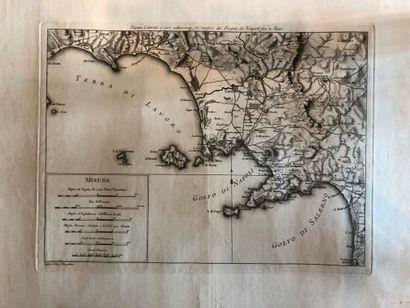 MORGHEN, Filippo. Piano del volcano di Napoli / Pianta del Cratere (N°1) / Pianta...
