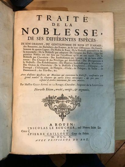 Traité de la Noblesse Par Gille André de...