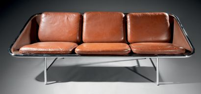 """GEORGES NELSON (1908-1986) Three-seater """"Sling"""" sofa, designed in 1963, with chromed..."""