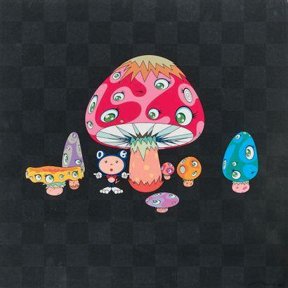 TAKASHI MURAKAMI (Japonais, né en 1962) Mushroom. 2003. Offset in colour (gold background)....