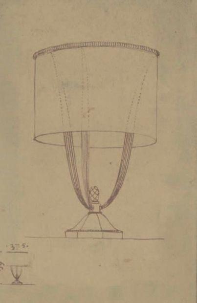 JACqUes-éMIle rUhlMAnn (1879-1933) Silvered bronze table lamp, circa 1920-1922, with...