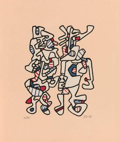 Jean Dubuffet (1901-1985) Courtship. 1973. Silk-screen print in colours. Sheet :...