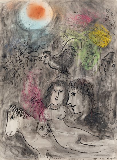 Marc CHAGALL (1887-1985) Lovers in the Orange Sun, 1980 Indian ink wash, pastel,...