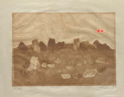Zoran Mušič (slovène, 1909-2005) Rocky landscape C. 1979. Aquatint. Subject : 19,5...