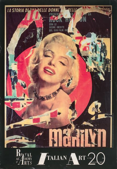 Mimmo Rotella (italien, 1918-2006) Marilyn. (Pl. of the Cinecitta suite). 1992. Lithograph...