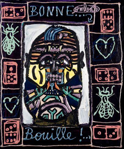 Robert COMBAS (Né en 1957) Bonne Bouille !... Painting and collage on canvas, signed...