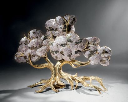 Henri FERNANDEZ (né en 1946) Fantastic tree Important lamp in polished welded brass...
