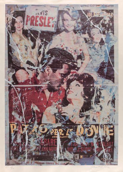 Mimmo Rotella (italien, 1918-2006) Elvis Presley, Pazzo per le donne (Girl Happy)....