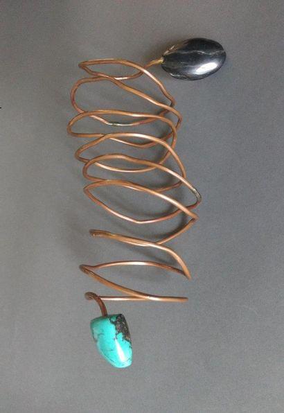 Angela Pintaldi Angela Pintaldi Bracelet Cuivre et pierre turquoise L. 23 cm