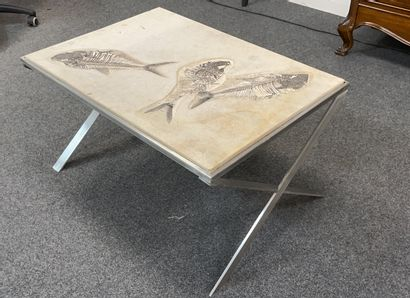 Table basse à plateau en pierre fossilisée à trois poissons sur un piètement métallique....