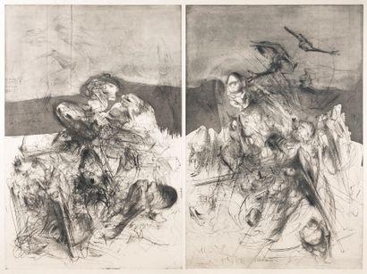 DADO (1933-2010) Composition abstraite, 1989 Sans titre, 1981 Gravure à la ponte...