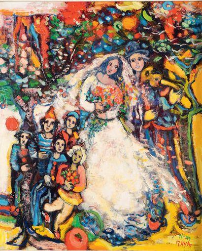 Alain RAYA SORKINE (Né en 1936) Mariage sous l'oranger, 1981 Huile sur toile, contresignée,...