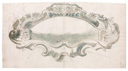 Ecole Italienne du XVIIIe siècle Projet pour un cartouche Plume et encre brune, lavis...