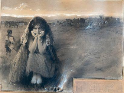 Ecole Française vers 1900 Miarka Pierre noire, estompe et rehauts de craie blanche...