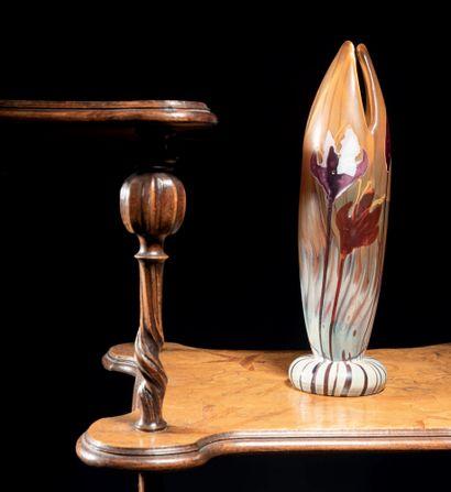 Émile GALLE (1864-1904) Vase «Crocus». Soliflore à base renflée et corps ovoïde à...