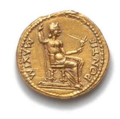 TIBÈRE(14-37) Auréus. Lyon. 7,82 g. Tête laurée de Tibère à droite. R/ La Paix (Livie)...