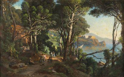 VINCENT COURDOUAN (TOULON 1810 - 1893) Promeneurs dans un sentier sur la côte d'Azur...