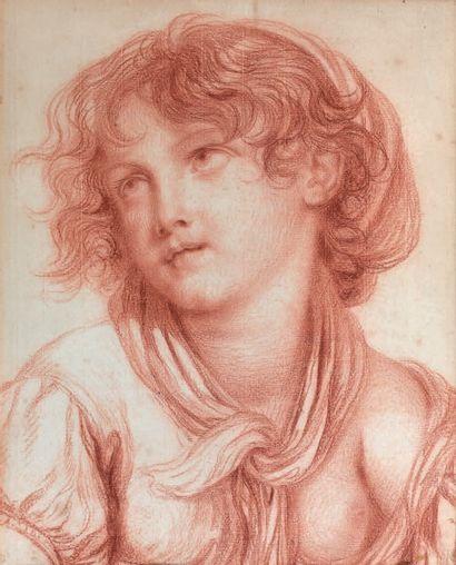 École de Jean-Baptiste GREUZE (Tournus 1725 - Paris 1805) Tête de jeune fille tournée...