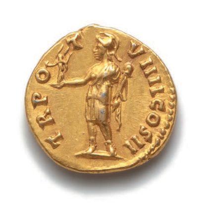 MARC AURÈLE (161-180), César (139-161) Auréus. Rome (154-155). 7,22 g. Sa tête nue...