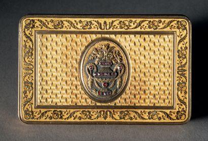 Boîte rectangulaire en or jaune à réserve...