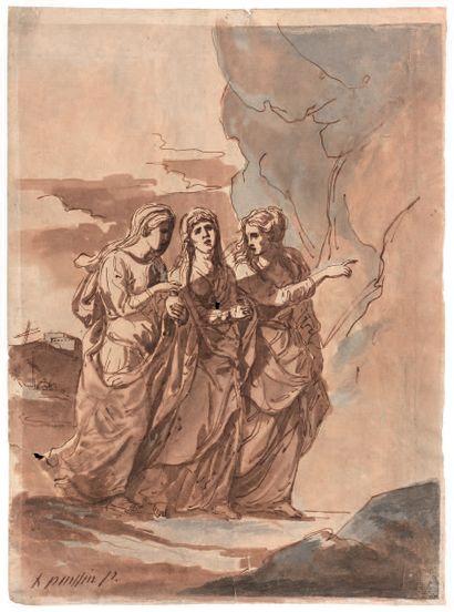 Étienne de LAVALLE POUSSIN (Attribué à) (Rouen 1735 - Paris 1802) Les trois Marie...