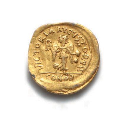 ANASTASE (491-518) Trémissis. Constantinople. 1,40 g. Son buste diadémé et drapé...