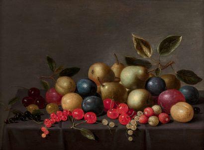 Attribué à Floris van SCHOOTEN (1590-1655) Poires, prunes, et cerises sur un entablement...
