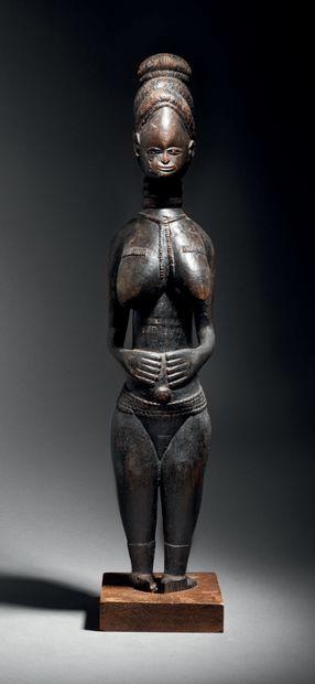 Ɵ Statue féminine Mende, Sierra Léone Bois...