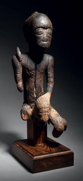Ɵ Fragment d'une statuette double Tabwa, de style Tumbwé, République Démocratique...