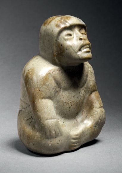 IMPORTANT SEATED CROSS-LEGED PERSON Olmec...