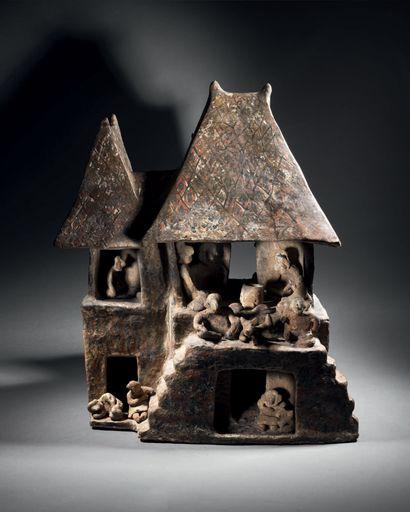 VILLAGE MINIATURE Culture Nayarit, Mexique Occidental Protoclassique, 100 avant...