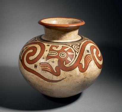 OLLA GLOBULAIRE DÉCORÉE D'ANIMAUX FANTASTIQUES Culture Coclé, Montijo, Panama 700-1100...