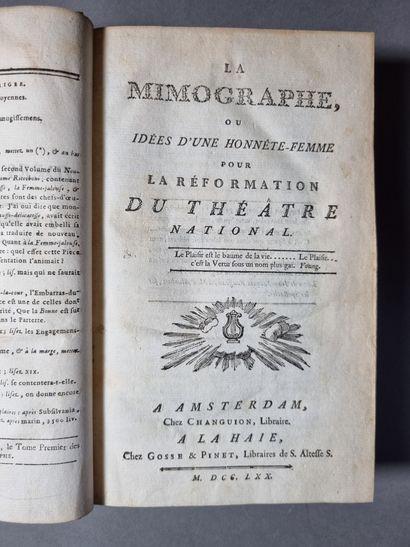 RESTIF DE LA BRETONNE (Nicolas-Edme). La Mimographe, or Ideas of an honest woman...